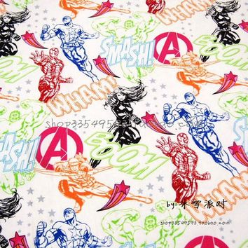 Marvel Fabric 140*50cm1pc 100%Cotton Fabric Telas Patchwork Marvel Comics.The Avengers Print Fabric Sewing Material DIY Clothing