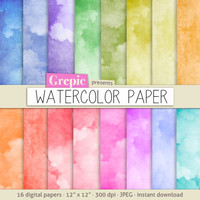 "Watercolor digital paper: ""WATERCOLOR PAPER"" with rainbow colored watercolor / watercolour digital papers suitable for scrapbooking, cards"