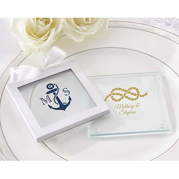 Personalized Glass Coasters - Kate's Nautical Wedding Collection (Set of 12)