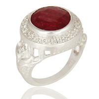 Red Corundum And White Topaz 925 Sterling Silver Cocktail Ring