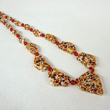 Mosaic Amber Necklace, Genuine Baltic Amber geometric jewelry, pentagonal faceted beads, uinque statement necklace.
