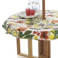 """Handpainted Floral 60"""" Round Umbrella Tablecloth"""