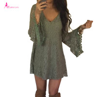 2017 women summer flare long sleeve v neck green lace party dress casual loose print bohemian mini club dresses clothing