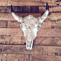 Medium Embellished Stag Head Cow Skull wall decor with hand placed new and vintage brooches, pearls and Swarovski crystals