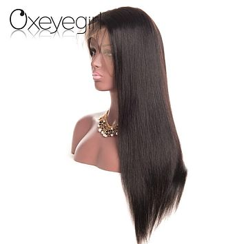 Oxeye girl Brazilian Straight Hair Glueless Full Lace Human Hair Wigs With Baby Hair For Women Natural Black Non Remy Hair Wig