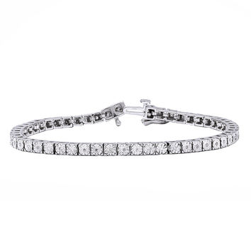 Beverly Hills Charm Sterling Silver 1/4ct TDW Diamond Tennis Bracelet (H-I, I2-I3) | Overstock.com Shopping - The Best Deals on Diamond Bracelets