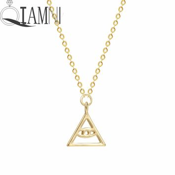QIAMNI HIP Hop Triangle Demon Evil Eye Geometric Chain Pendants Necklaces for Women Men Jewelry Birthday Party Gift Kpop