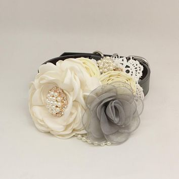 Patience Ivory Gray Flower dog collar, Pet wedding accessory, Pearls Rhinestone