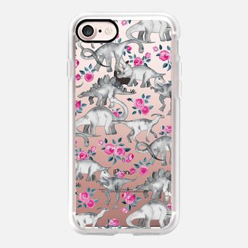 Dinosaurs and Roses - transparent iPhone 7 Case by Micklyn Le Feuvre | Casetify