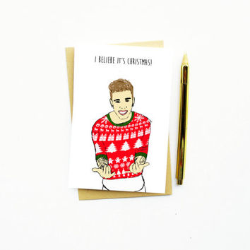10% BLACK FRIDAY! Funny Christmas Card...Funny Holiday Card...Unique Christmas Card...I Beliebe It's Christmas