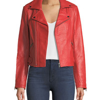 Rebecca Minkoff Wolf Zip-Front Leather Moto Jacket
