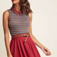 Declare and Contrast Sweater in Striped Grey