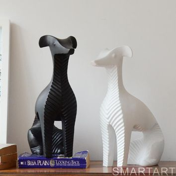 Handmade Creative Abstract Whippet Figurine Nordic Crafts White/Black Dog Sculpture Ornaments Home Decors