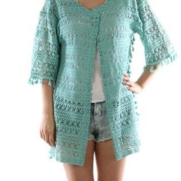 Poncho Floral Pattern Crochet Sleeved Coverup Side Tassels