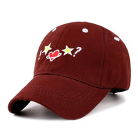 ! Star Heart Star ? Sun Cap Cotton Embroidered Baseball Cap Fitted Hat Casual Outdoor Sports Strapback Hat For Women & Girls Autumn Climbing Coffe Hat