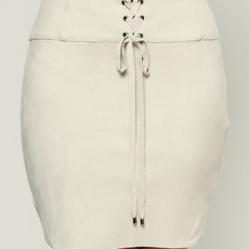 Jackie Brown Faux Suede Skirt (Stone)