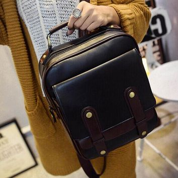 Student Backpack Children 2018 Korean autumn new bag leather shoulder bag Vintage College Student Backpack female wind tide AT_49_3