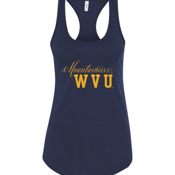 Official NCAA West Virginia University Mountaineers Hail WVU Cursive Back State Next Level Racerback Tank - WV03