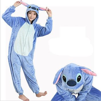 Women Character Stitch Pajamas Set Adult Coral Fleece Sleepwear Animal Pajama Womens Full Sleeve Hooded Pijama Flannel Pijamas