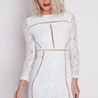 Missguided - Lace Ladder Detail Bodycon Dress White