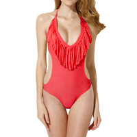 Halter Cut-Out Fringed Swimsuit