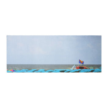 "Angie Turner ""Superman At The Beach "" Blue Red Bed Runner"