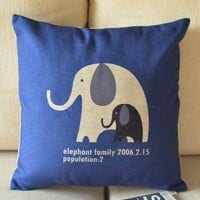 Elephant Family Cotton and Linen Cushion