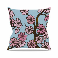 """Art Love Passion """"Cherry Blossom Day"""" Floral Illustration Outdoor Throw Pillow"""