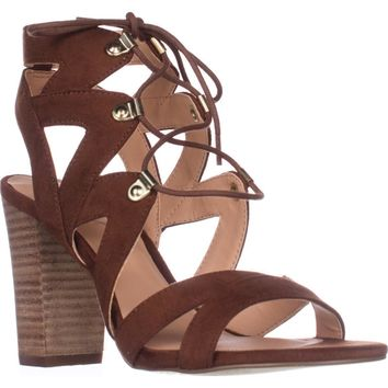 XOXO Barnie Heeled Lace Up Sandals, Tan, 9.5 US / 41 EU