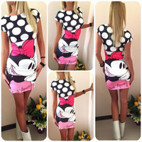 Mickey and Minnie Printed Slim Hip One Piece Dress a12116