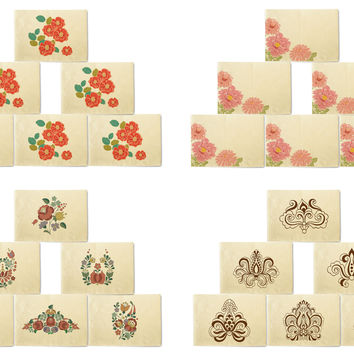 Hand-Drawn Flowers Retro Colored Patterns Printeded Placemats Set of 6