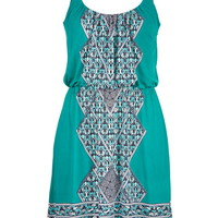 Ethnic Print Dress - Boardwalk Blue Combo