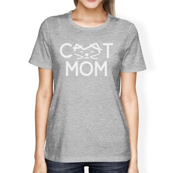 Cat Mom Womens Gray Unique Design Short Sleeve Tee For Cat Moms