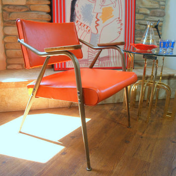 Vintage Bright ORANGE MID MOD Chair Mid Century Modern Tilt Back Arm Chair 1950s Vinyl Steel Wood Upholstered Spring Seat Retro Furniture