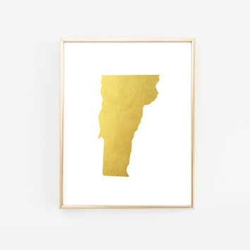 Vermont State Gold Foil Art Print