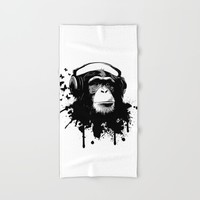 Monkey Business - White Hand & Bath Towel by Nicklas Gustafsson