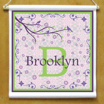 Girls Personalized Hanging Monogram Sign Printed Banner with Scroll Border and Cherry Blossom Branch with birds Violet Purple and Green