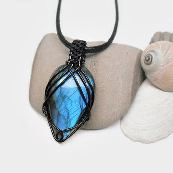 OOAK Wire wrapped Labradorite necklace, blue fire Labradorite pendant, black copper wire wrap, unique necklace for women