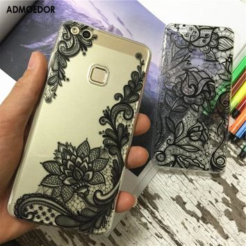 huawei p10 lite Case,Silicon mandala totem Painting Soft TPU Back Cover for huawei p10 lite Phone fitted Case shell