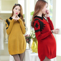 8943# Peter Pan Collar Knitted Autumn Maternity Sweater 2015 Winter New Plus Size Pullovers Clothing Clothes for Pregnant Women = 1946086788