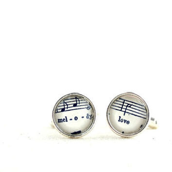 Sheet music cuff links. Silver plated men's accessory with vintage sheet music under glass.  Love melody