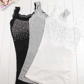 CREYYN6 Trendy Lace Vest Girl Women's Rhinestone Sequin Lace Tank Top Sling Camisole Cami Vest Slim 3 colors