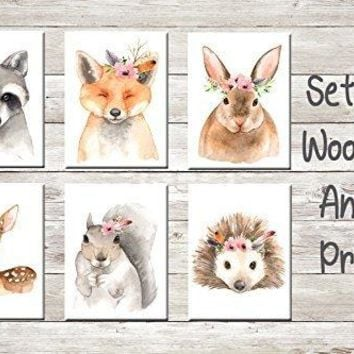 Fox Bunny Rabbit Raccoon Deer Fawn Squirrel Porcupine Boho Wall Art Print Woodland Bohemian Floral Nursery Baby Girl Printable Decor