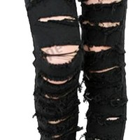 Black Punk Rock Women Ripped Skinny Pants Jeans Leggings Trousers WF-3787