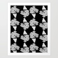 Vases of Flowers Black and White on Black background Art Print by Jennifer Warmuth Art And Design