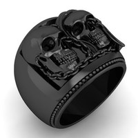 Skull Engagement Ring Chained Together