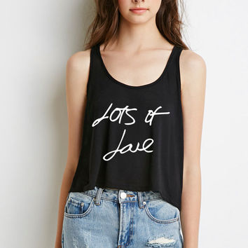 "One Direction ""Lots of Love Autograph"" Boxy, Cropped Tank Top"