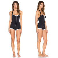 Simple Halter Design Color Block One Piece Swimsuit