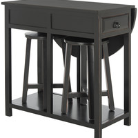 Miles Portable Bar With Two Stools Black