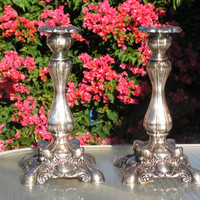 WM A. Rogers Silverplate Candlesticks Taper Candle Holders Victorian Shabby Chic Gothic Silver Plated Candle Sticks Decor